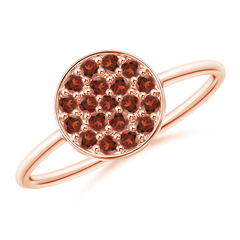 Pave Set Round Garnet Cluster Disc Ring