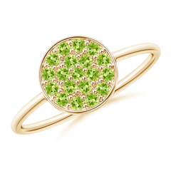 Pave Set Round Peridot Cluster Disc Ring