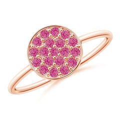 Pave Set Round Pink Sapphire Cluster Disc Ring