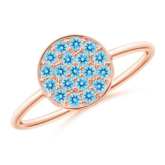 Pave Set Round Swiss Blue Topaz Cluster Disc Ring