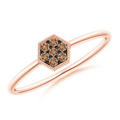 Hexagon-Shaped Coffee Diamond Cluster Ring with Milgrain