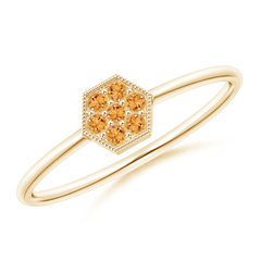 Hexagon-Shaped Citrine Cluster Ring with Milgrain
