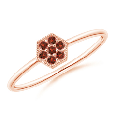 Hexagon-Shaped Garnet Cluster Ring with Milgrain