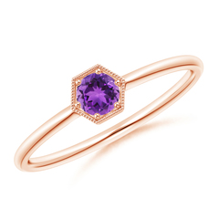 Pave Set Amethyst Hexagon Solitaire Ring with Milgrain