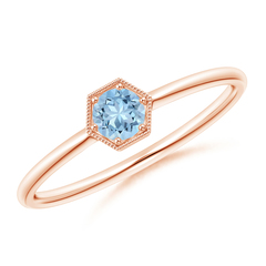 Pave Set Aquamarine Hexagon Solitaire Ring with Milgrain
