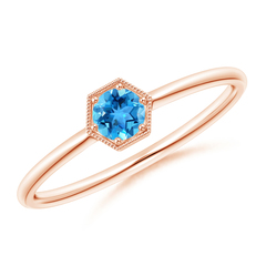 Pave Set Swiss Blue Topaz Hexagon Solitaire Ring with Milgrain