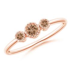 Bezel Set Round Coffee Diamond Three Stone Ring