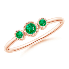 Bezel Set Round Emerald Three Stone Ring