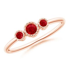 Bezel Set Round Ruby Three Stone Ring