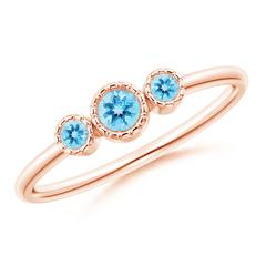 Bezel Set Round Swiss Blue Topaz Three Stone Ring