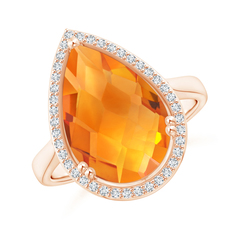 Pear-Shaped Citrine Cocktail Ring with Diamond Halo
