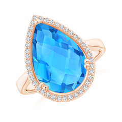 Pear-Shaped Swiss Blue Topaz Cocktail Ring with Diamond Halo