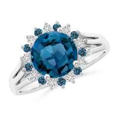 London Blue Topaz Triple Shank Ring with Alternating Halo