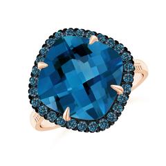 Claw Set Cushion London Blue Topaz Halo Ring with Filigree