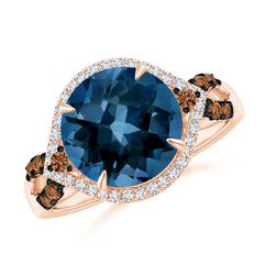 London Blue Topaz Cocktail Ring with Coffee Diamond Accents
