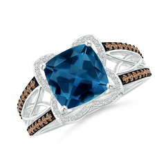 Cushion London Blue Topaz Celtic Knot Cocktail Ring