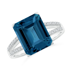 Emerald Cut London Blue Topaz Cocktail Ring with Diamond Accents