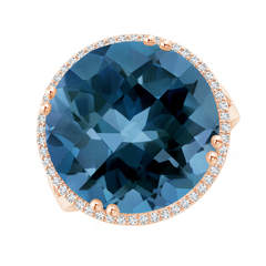 Vintage London Blue Topaz Cocktail Ring with Diamond Halo