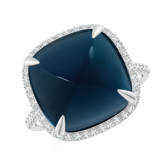 Sugarloaf Cabochon London Blue Topaz Ring with Diamond Halo