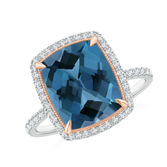Cushion London Blue Topaz and Diamond Halo Ring in Two Tone