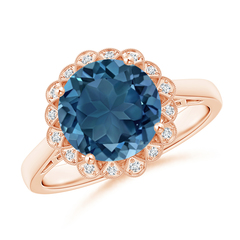 Vintage Style London Blue Topaz Cocktail Ring with Diamond Halo