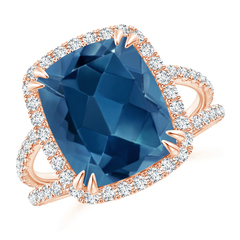 Vintage London Blue Topaz Split Shank Ring with Diamond Halo