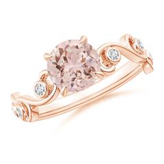 Morganite and Diamond Ivy Scroll Ring