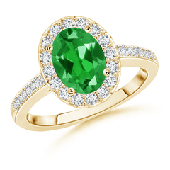Lab Created Solitaire Oval Emerald Halo Engagement Ring