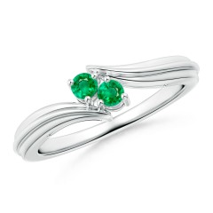Round Two Stone Emerald Bypass Ring