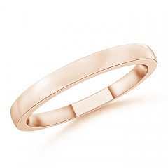 Polished Flat Surface Dome Wedding Band for Her