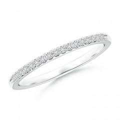Fishtail Set Diamond Semi Eternity Wedding Band for Her
