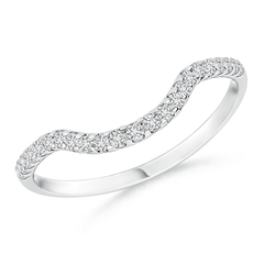 Prong Set Diamond Curved Wedding Band for Women