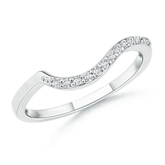 Prong Set Diamond Swirl Wedding Band for Women