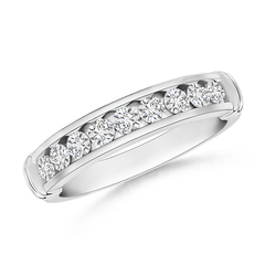 Channel Set Round Diamond Semi Eternity Love Wedding Band