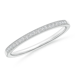 Pave-Set Women's Diamond Wedding Band with Milgrain Edge