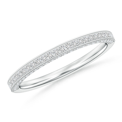 Trio Set Pave Diamond Semi Eternity Wedding Band