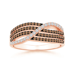 Multi-Row White and Coffee Diamond Crossover Wedding Band