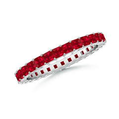 Shared Prong Set Square Ruby Eternity Band
