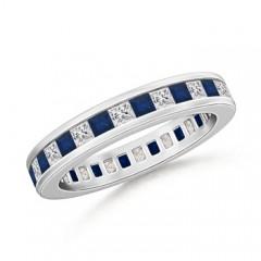 Channel Eternity Square Sapphire Diamond Wedding Band