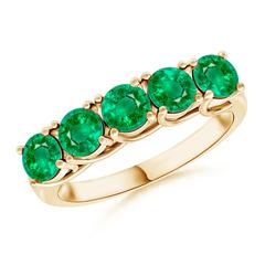 Half Eternity Five Stone Emerald Wedding Band