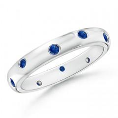 Gypsy Set Round Blue Sapphire Eternity Wedding Band