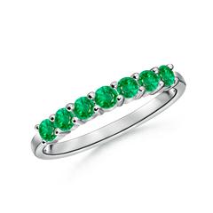 Half Eternity Seven Stone Emerald Wedding Band