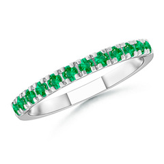Unique Prong Emerald Half Eternity Wedding Band