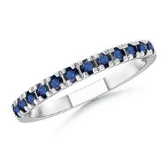 Unique Prong Sapphire Half Eternity Wedding Band