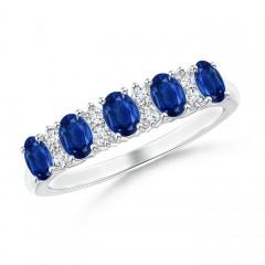 Five Stone Blue Sapphire and Diamond Wedding Band