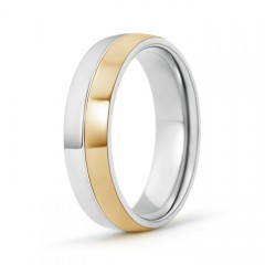 Two Tone High Polished Comfort Fit Wedding Band for Men
