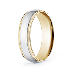Low Dome Comfort Fit Two Tone Men's Wedding Band