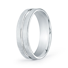 Satin Finish Convex Cut Wedding Band