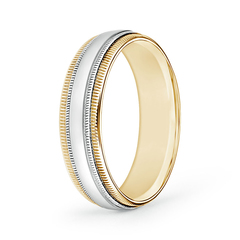 Mid Dome Double Milgrain Wedding Band in White and Yellow Gold