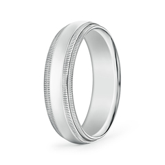 High Polished Mid Dome Wedding Band With Double Milgrain Edges